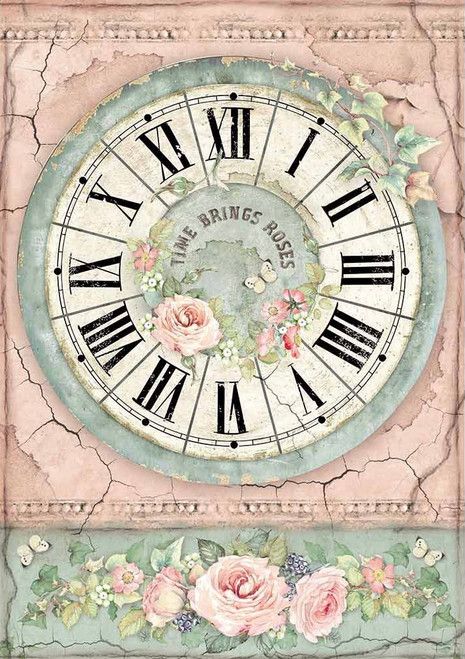 Stamperia A4 Rice Paper House of Roses Clock