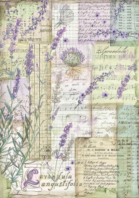 Stamperia A4 Rice Paper Provence Lavender Fantasy