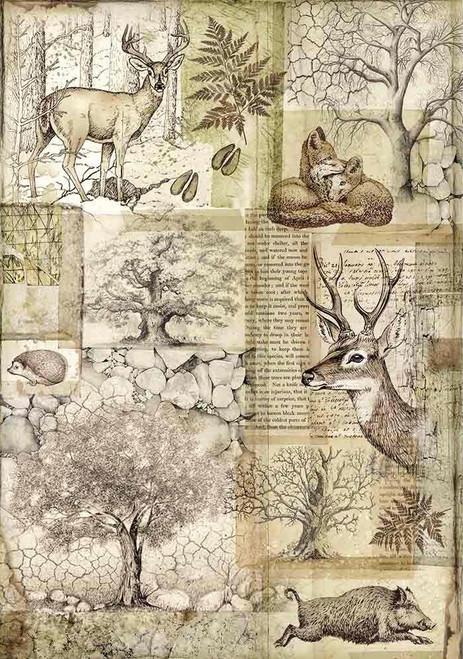 Stamperia A4 Rice Paper Deer & Wild Boar