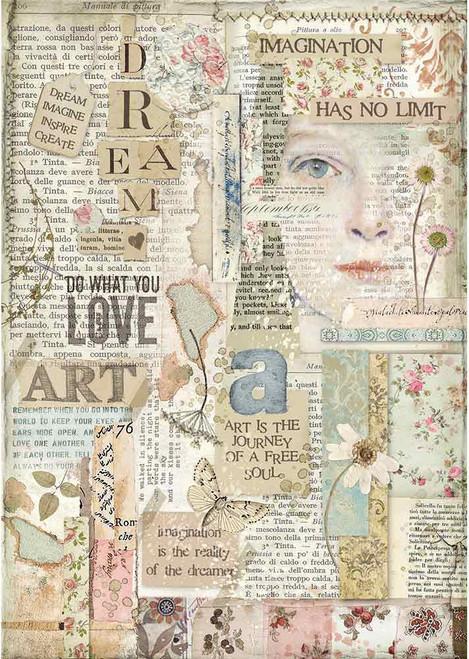 Stamperia A4 Rice Paper Imagine Love Art