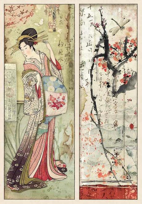 Stamperia A4 Rice Paper Oriental Garden Geisha