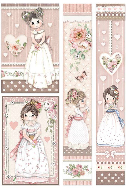 Stamperia A4 Rice Paper Little Girl Frames