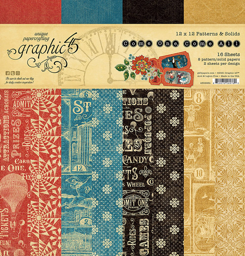 """Graphic 45 Come One, Come All! 12"""" x 12"""" Patterns & Solids Pad"""