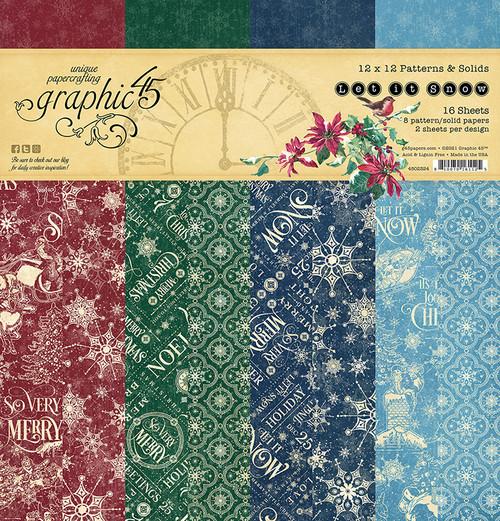 "Graphic 45 Let It Snow 12"" x 12"" Patterns & Solids Pad"