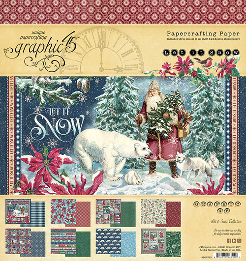 """Graphic 45 Let It Snow 8"""" x 8"""" Collection Pad"""
