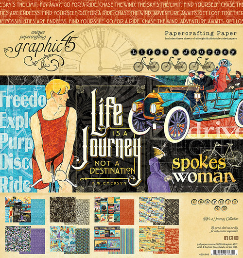 """Graphic 45 Life's a Journey 8"""" x 8"""" Paper Pad"""