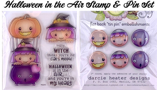 Darcie's Heart & Home Halloween in the Air Stamp & Pin Set