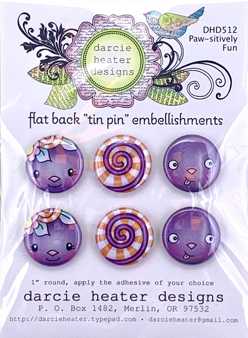 Darcie's Heart & Home Paw-sitively Fun Flat Back Tin Pin Embellishment
