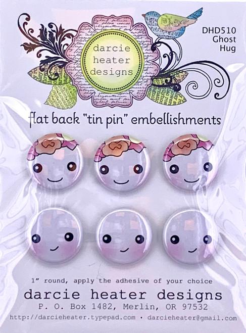 Darcie's Heart & Home Ghost Hug Flat Back Tin Pin Embellishment