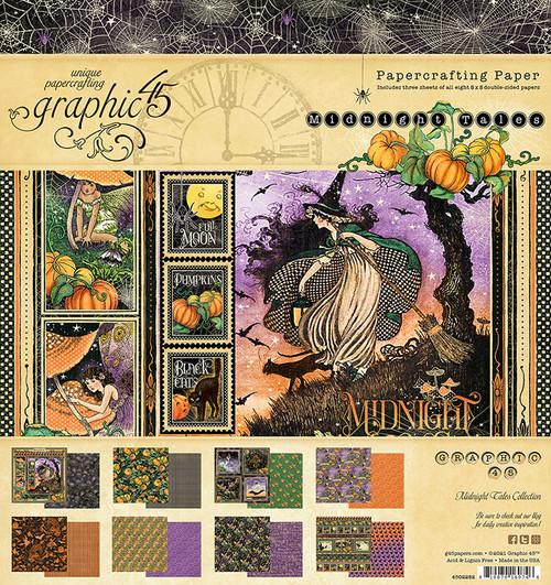 """Graphic 45 Midnight Tales 8"""" x 8"""" Paper Pad"""