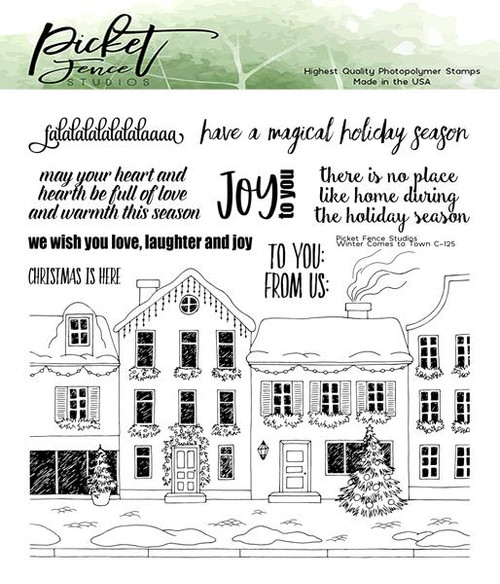 Picket Fence Studios Winter has Come to Town Stamp Set