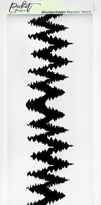 Picket Fence Studios Slim Line Double Tree Line Stencil