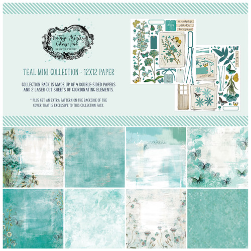 49 and Market Vintage Artistry Teal 12×12 Collection Pack