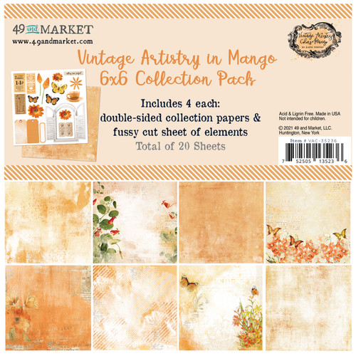 """49 and Market Vintage Artistry Mango 6"""" x 6"""" Collection Pack"""