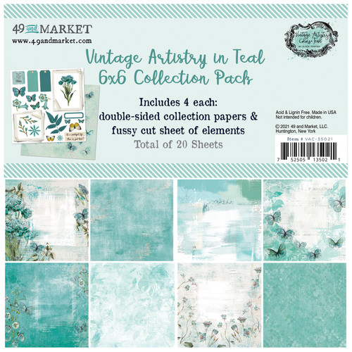 """49 and Market Vintage Artistry Teal 6"""" x 6"""" Collection Pack"""