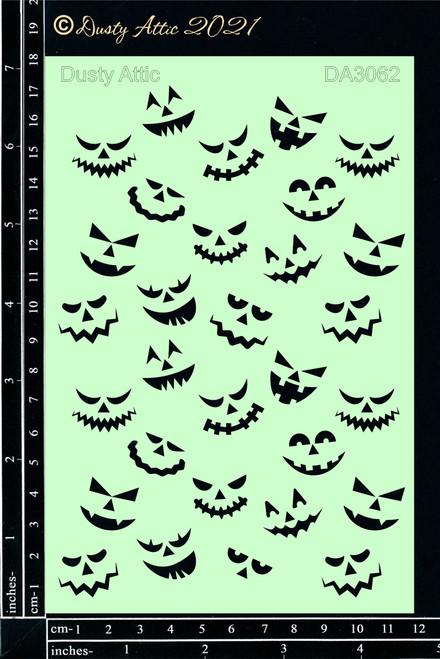 Dusty Attic Spooky Faces Stencil