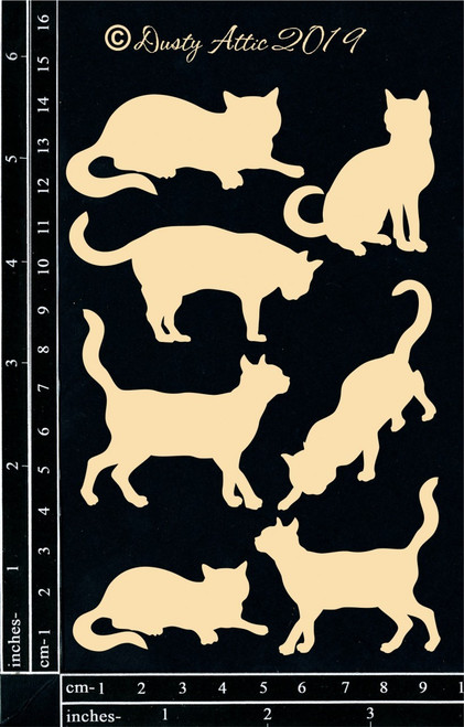 Dusty Attic Chipboard Cats
