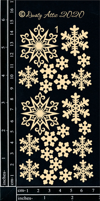 Dusty Attic Chipboard Snowflakes Small #1