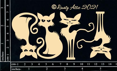 Dusty Attic Chipboard Creepy Cats