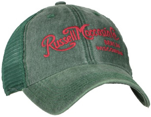 Green cap with green mesh back, and red vintage script logo.