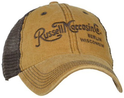 Tan cap with brown mesh back, and brown vintage script logo.