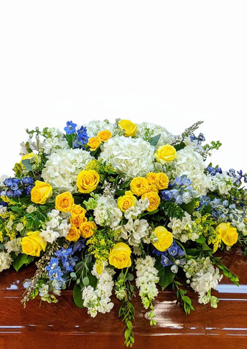 Blue and Yellow Casket Cover