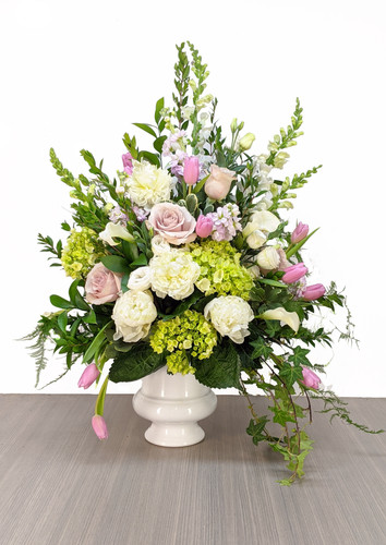 Funeral Urn White & Pinks