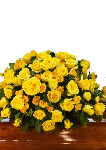 Yellow Roses Casket Cover