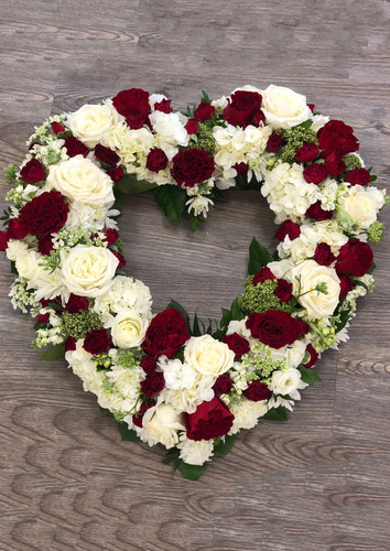 Heart Wreath in Red & White