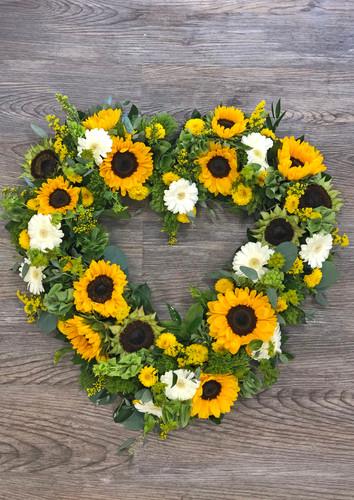 Heart Wreath in Sunflowers