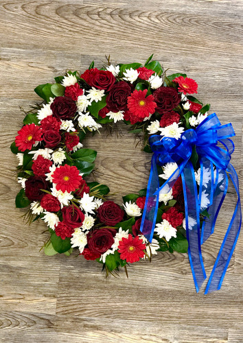 Memorial Wreath in Red & White