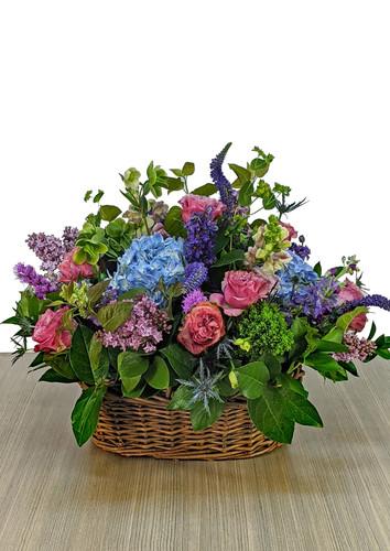 Fresh Sympathy Basket in Blue & Purples