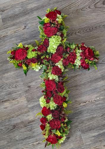 Memorial Cross in Red & Greens