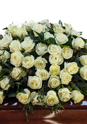 White Roses Casket Cover