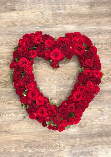 Heart Wreath in Red Roses Memorial