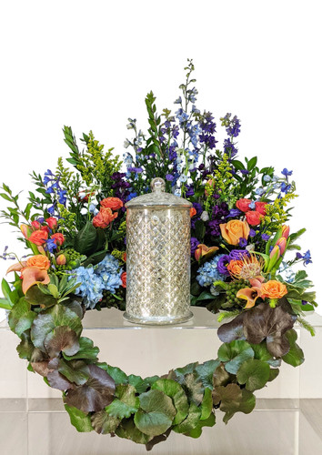 Cremation Urn Riser Memorial in Summer blues