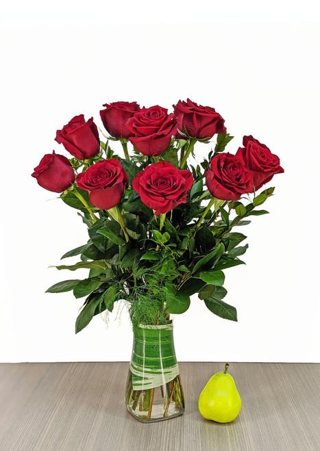 """the """"Classic"""" Dozen Red Rose Vase"""