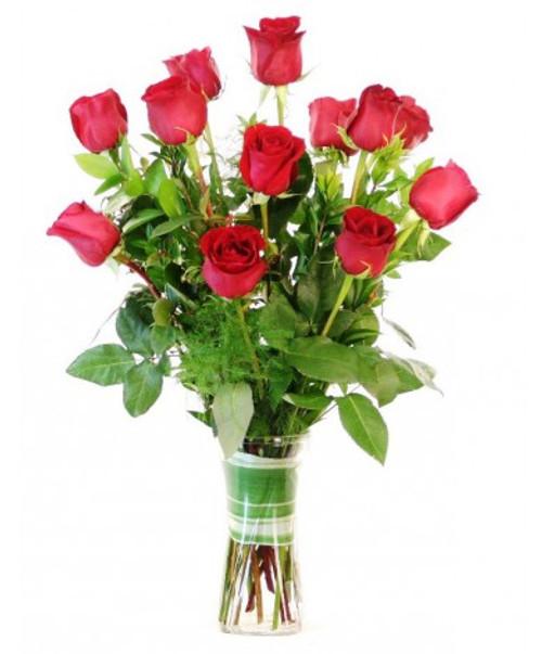 Classic Dozen Red Rose Vase
