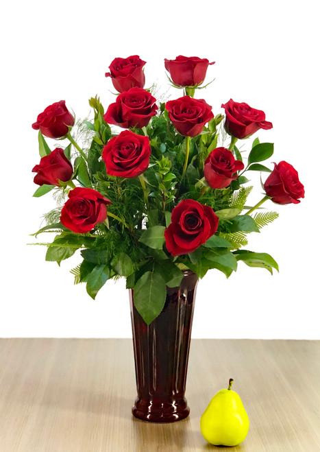 "the ""Elegant"" Single Dozen Red Rose Vase"