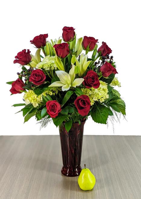 """the """"Premium"""" Dozen Red Rose Vase"""