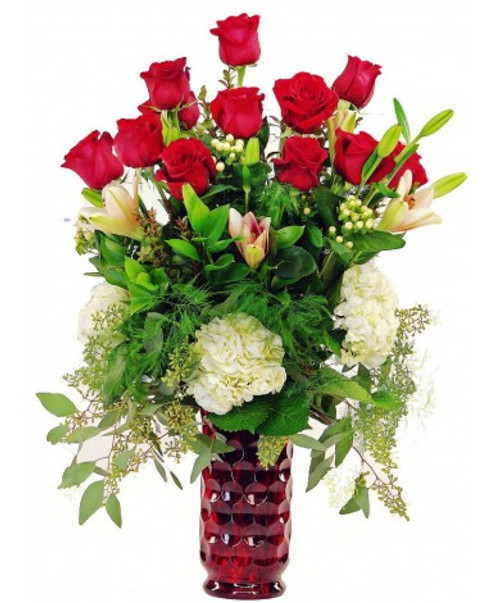 Premium Dozen Rose Vase