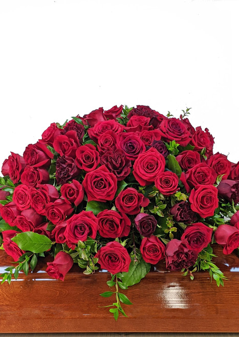 Red Roses Casket Cover