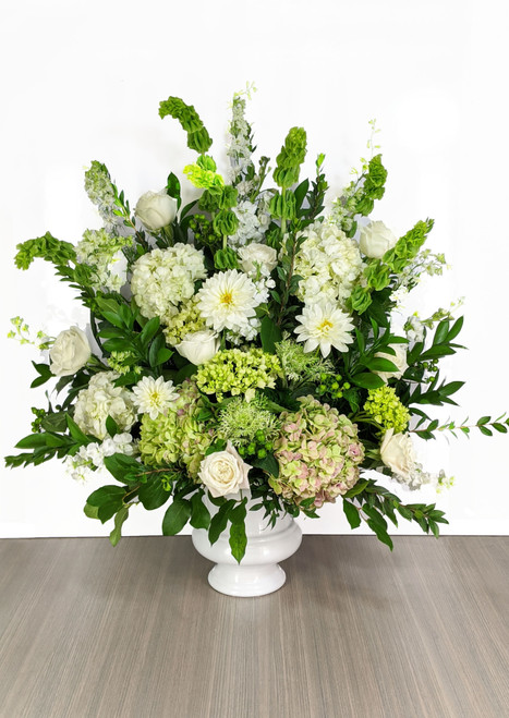 Funeral Urn White & Greens