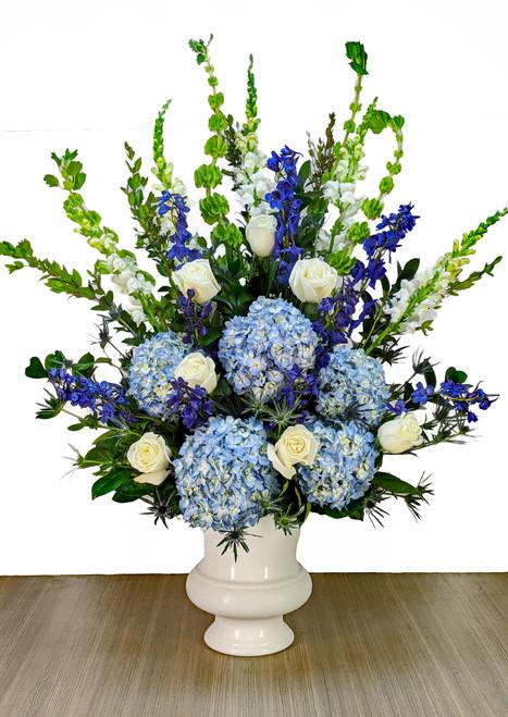 Funeral Urn Blue & Whites