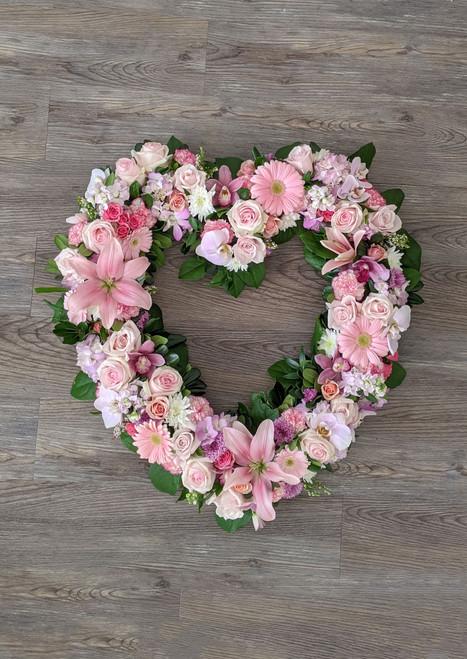 Heart Wreath in Pinks Memorial