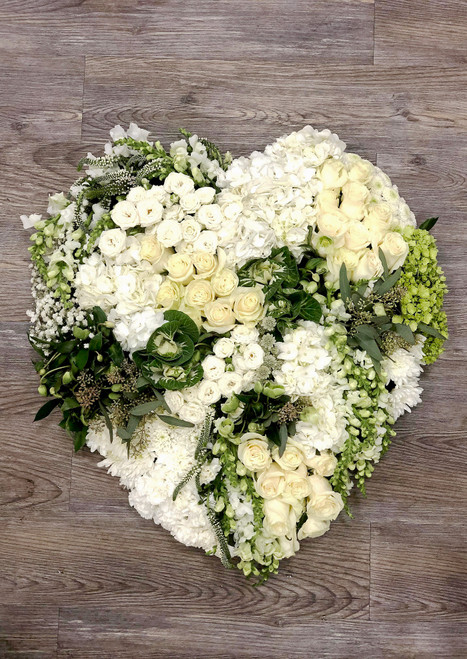 Solid Heart Wreath in White