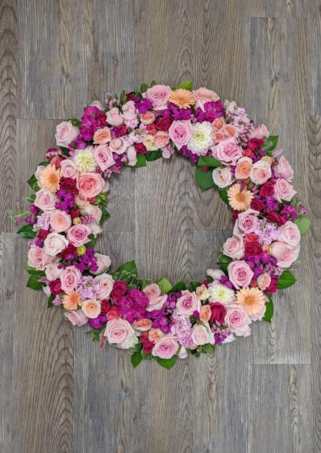 Memorial Wreath in Pinks
