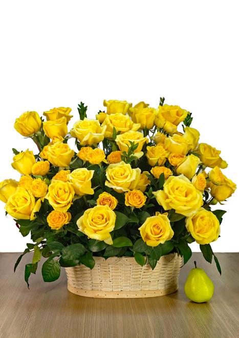 Fresh Sympathy Basket in Yellow
