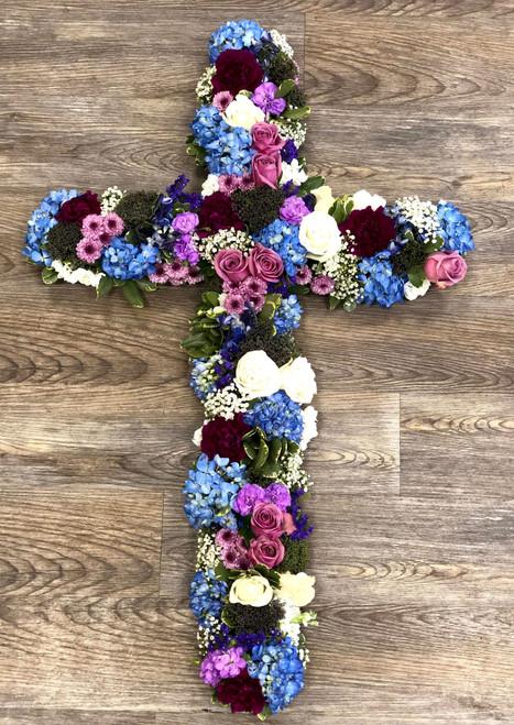 Memorial Cross in Blues & Purples