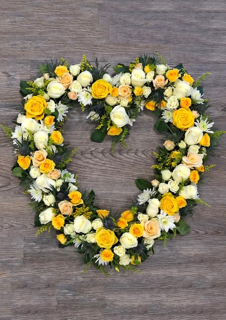 Heart Wreath in Creams Memorial